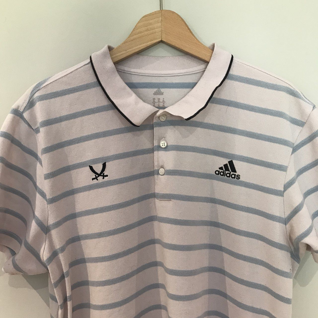 54b3bd91438 vintage pink and white striped adidas polo shirt top condition - some  slight bobbling under arm but nothing noticeable Size XL would look good  oversized ...