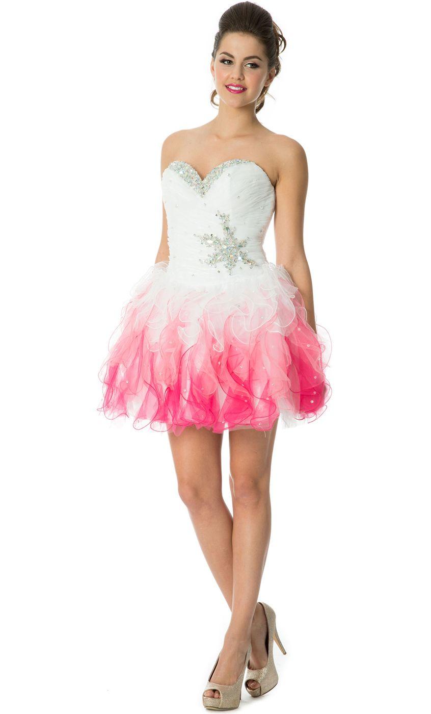 Tonal Ruffle Short Prom Dress $151.99 #dreampromnight #pacificplex ...
