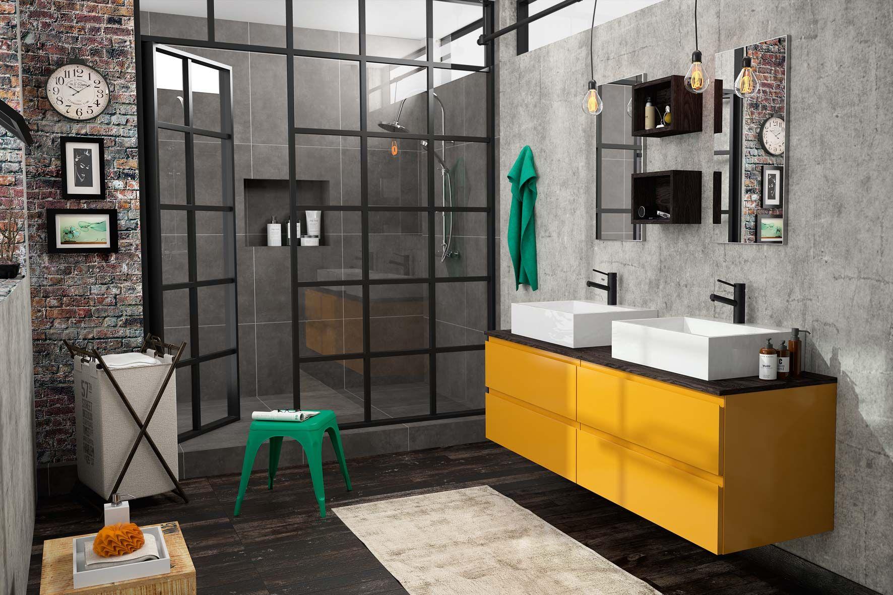 Meuble de salle de bain Cedam - Gamme Gloss - meuble jaune ...