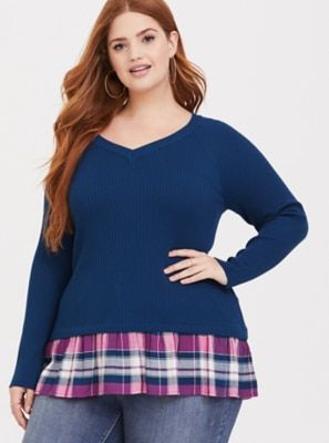 1b60392dfce Blue Plaid 2fer Pullover Blue Plaid
