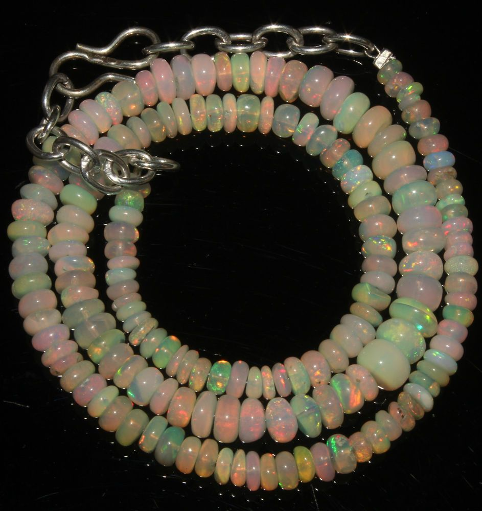 """38 Crts 1 Necklace 3 to 6 mm 13"""" Beads Natural Ethiopian Welo Fire Opal 56850"""