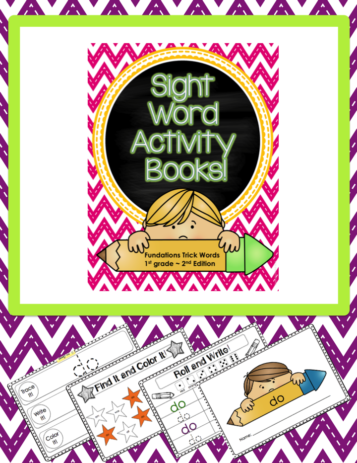 These sight word activity books are a great way to reinforce sight words. Use them as a follow-up activity after a phonemic awareness lesson or place them in your literacy center. This download contains all the 2nd Edition Fundations Trick Words for First Grade.