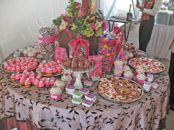 Wedding cherry blossom candy station candy buffet - Mesas para buffet ...
