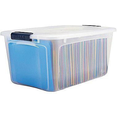 Staples 54 Quart Plastic Locking Lid Container (28769