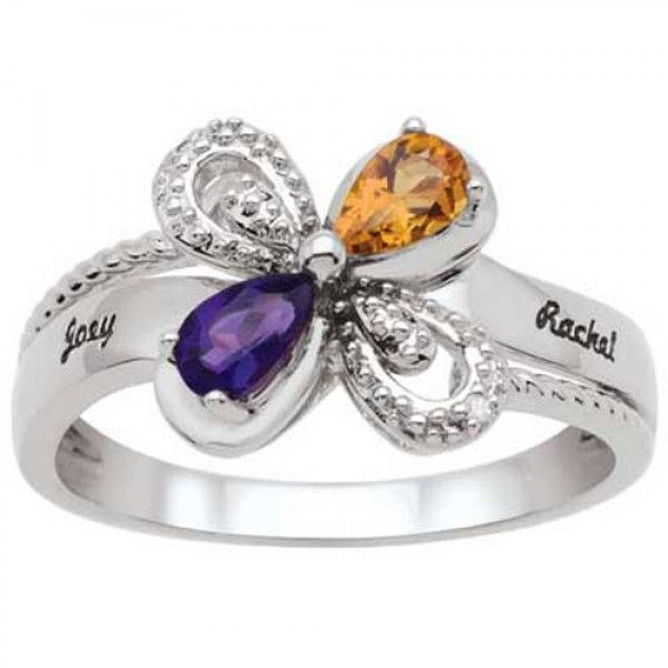 Zales Couples Oval Birthstone and Diamond Accent Dragonfly Bypass Ring (2 Stones and Names) 210EarFH
