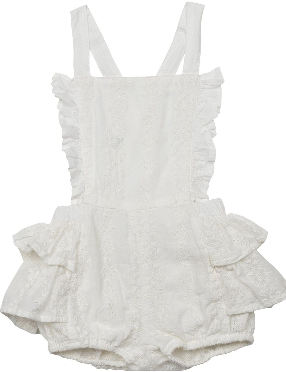 b02f98343f0 Paper Wings Overall Romper in White Eyelet (Size 12 Mos)