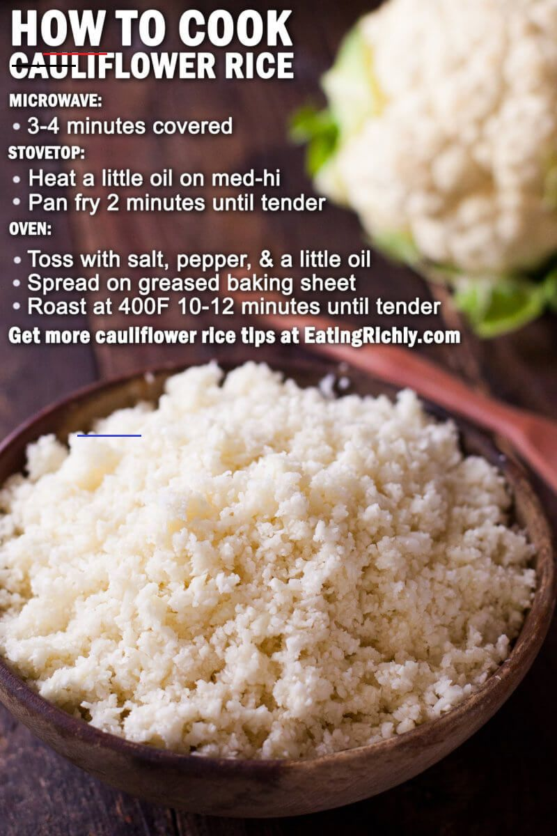 Cauliflower Rice Recipe with Stove, Oven, & Microwave