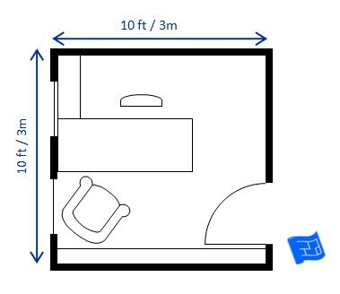 This 10 x 10ft 3 x 3m home office floor plan houses a 5 for 10ft by 10ft room