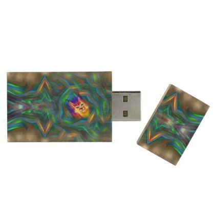 Psychedelic Colour Flow Lynx Portrait Wood Flash Drive - unusual diy cyo customize special gift idea