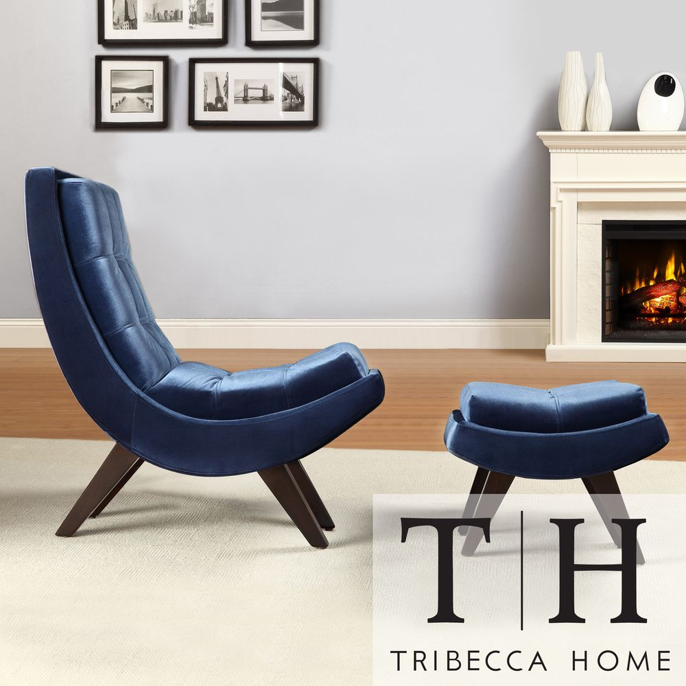 TRIBECCA HOME Albury Blue Velvet Curved Chair and Ottoman Set ...
