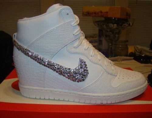 size 40 8c0ac 51336 Discount Aug 2015 Shoes Nike Bridal Swarovski Crystal Dunk Sky Hi Wedge  Sneaker In White
