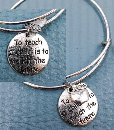 Teacher Silver Charm Bracelet Gift For Child S Touch The Future Inspirational Le Inexpensive Jewelry