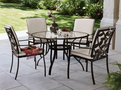 lucca 4 seater round garden furniture set homebase - Garden Furniture 4 Seater Sets