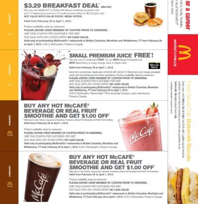McDonalds.ca Canada Free Printable Coupons (Western Provinces Include Free Small Premium Juice) – Exp. April 1, 2012, Canada
