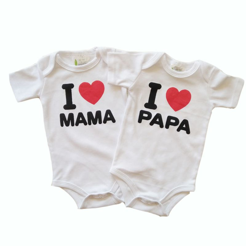 Newborn Baby Bodysuit Romper Cotton I Love Papa Mama Clothing Jumpsuit Girl 2pcs