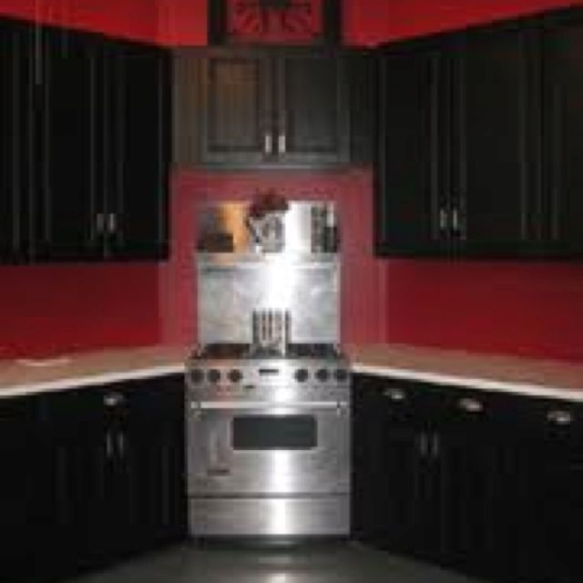 superb Black Kitchen Cabinets With Red Walls #5: Black cabinets with red walls