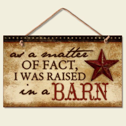 Barn Signs Decor Western Lodge Cabin Decor ~Raised In A Barn~ Wood Sign W Rope