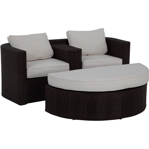 Lauderdale 2 Piece Wicker Outdoor Loveseat And Ottoman Lounger Set: Patio  Furniture : Walmart