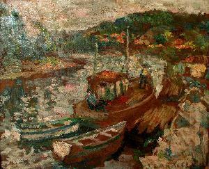 Autor: José V. Caracci Título: Lanchas en el río Maule Técnica / Material: Óleo sobre tela