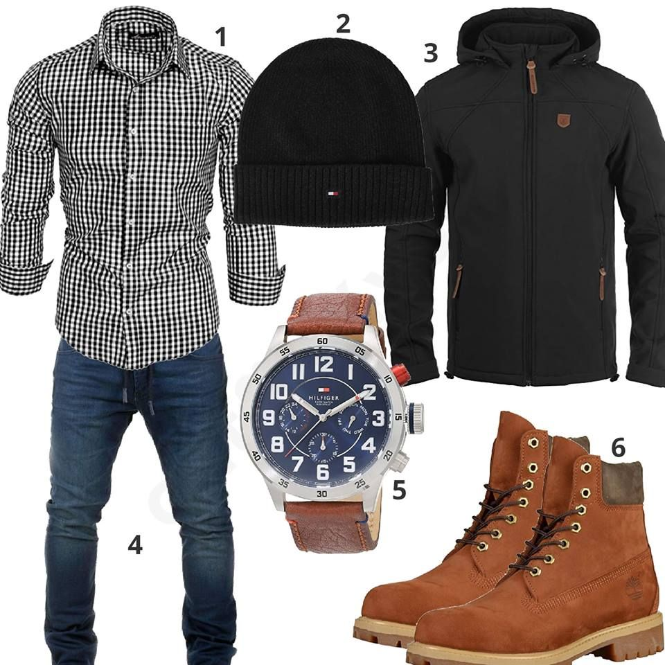 Herrenoutfit Mit Kariertem Hemd Jeans Und Boots Mens Trendy Outfits Mens Winter Fashion Sweater Outfits Men