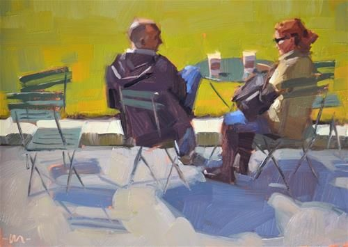 "Daily Paintworks - ""A Chat Over Coffee"" - Original Fine Art for Sale - © Carol Marine"