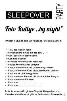 Foto Rallye Sleepover Party Sw Blanko Vorschau Teenager