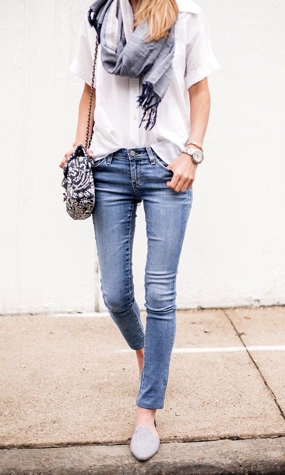 Cute update on flats, jeans, slouchy blouse and scarf ...