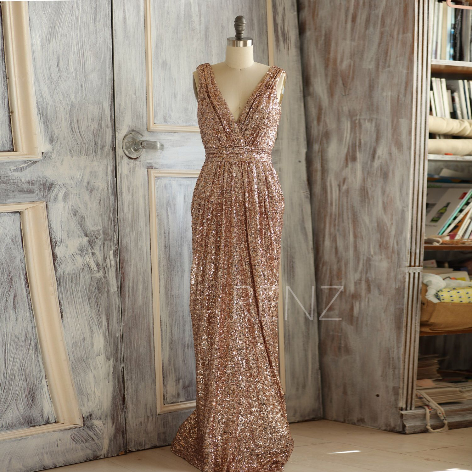 Pink sparkly wedding dresses   Rose Gold Bridesmaid dress Long Gold Sequin Wedding dress