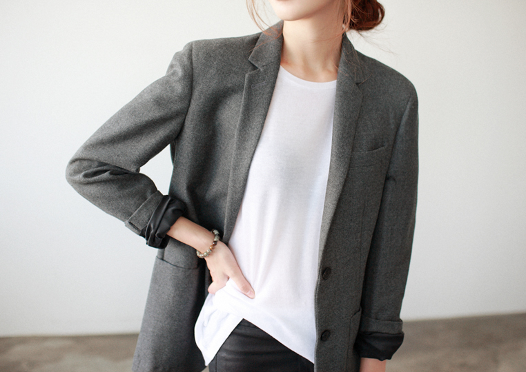 Gray Blazer, White Silk Top, Black Pants Women's Outfit ...