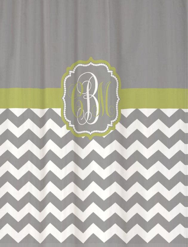 green and gray shower curtain. Shower Curtain Cool Gray Half Chevron with Green Banana Accents 69x70  Custom Monogrammed Personalized for Your