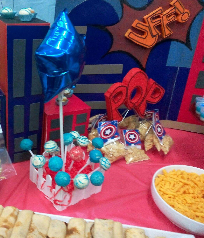 Centro De Mesa Capitán América: Pop Cake, Fiesta Capitan America