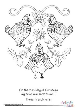 Three French Hens Colouring Page Christmas Coloring Books New Year Coloring Pages Christmas Coloring Pages