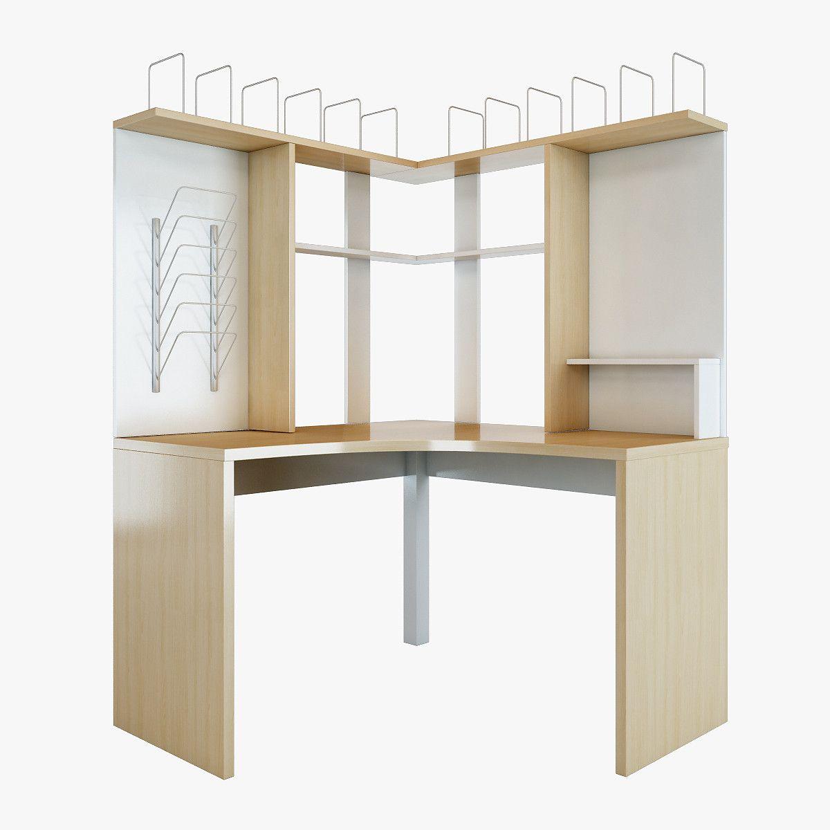 office corner workstation. Mikael Office Corner Table Furniture 3D Model - Workstation E