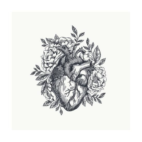 Photo of 'Valentines Day Card. Anatomical Heart with Flowers. Vector Illustration' Art Print – adehoidar   Art.com