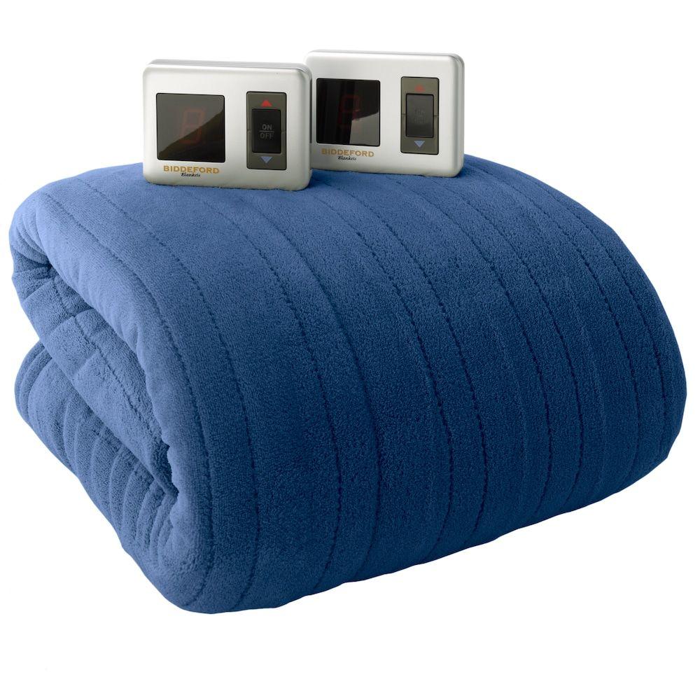 Biddeford Plush Heated Electric Blanket, Med Blue