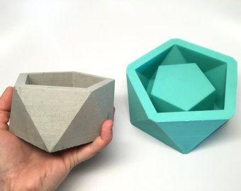 Große Ikosaeder II Übertopf Form   Slicone   Geometrische Form   Gegossenen  Beton Harz Wachs Seife