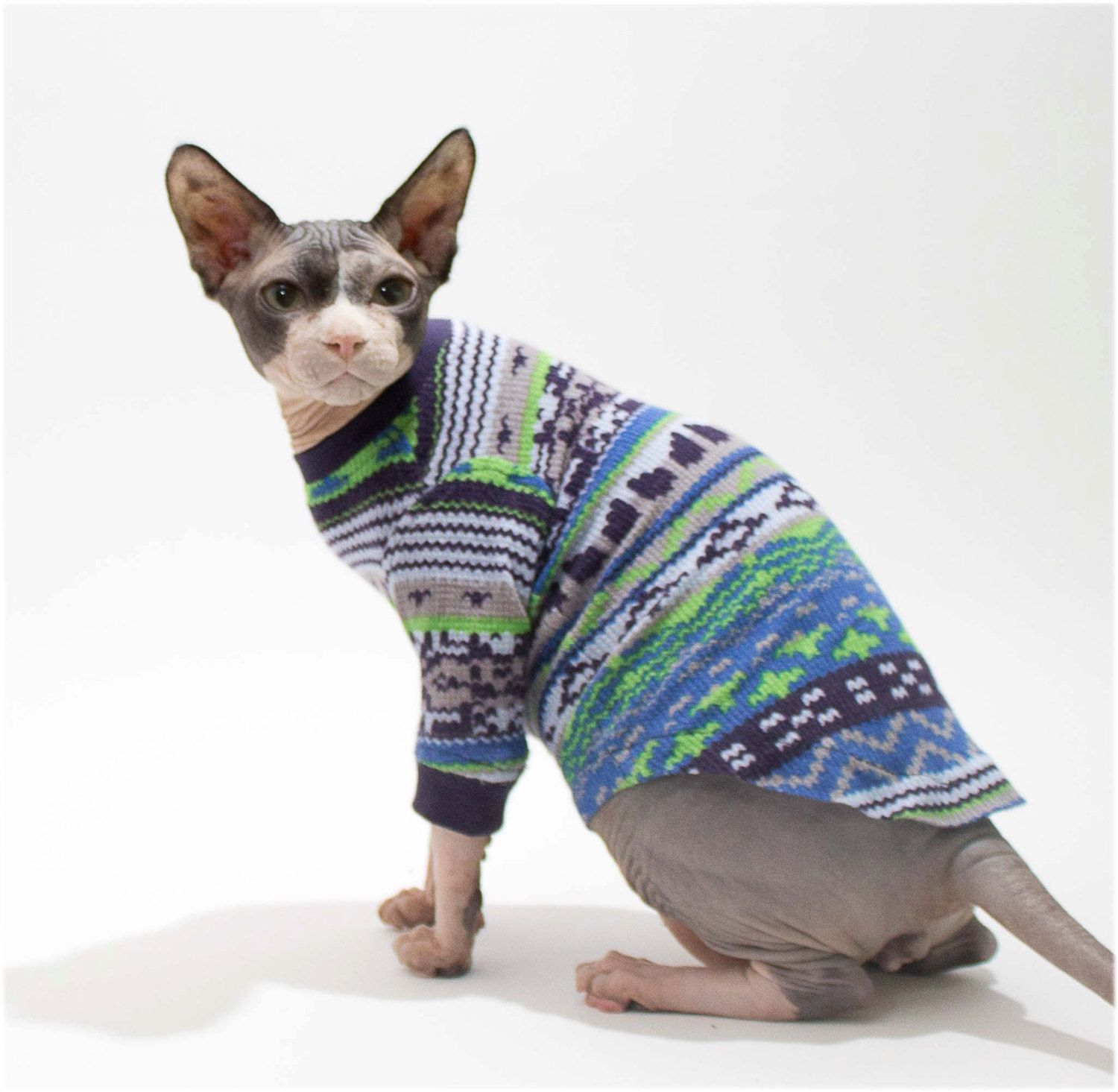 Ikat Sphynx Cat Shirt Long Sleeved Blue Green Pattern soft warm