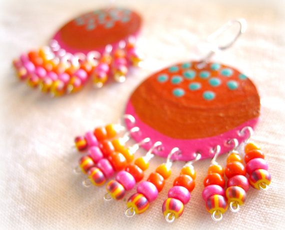 Pink, Orange Beaded Chandelier Earrings, Bohemian Painted Metal Earrings, Colorful Seed Bead Earrings, Boho Jewelry