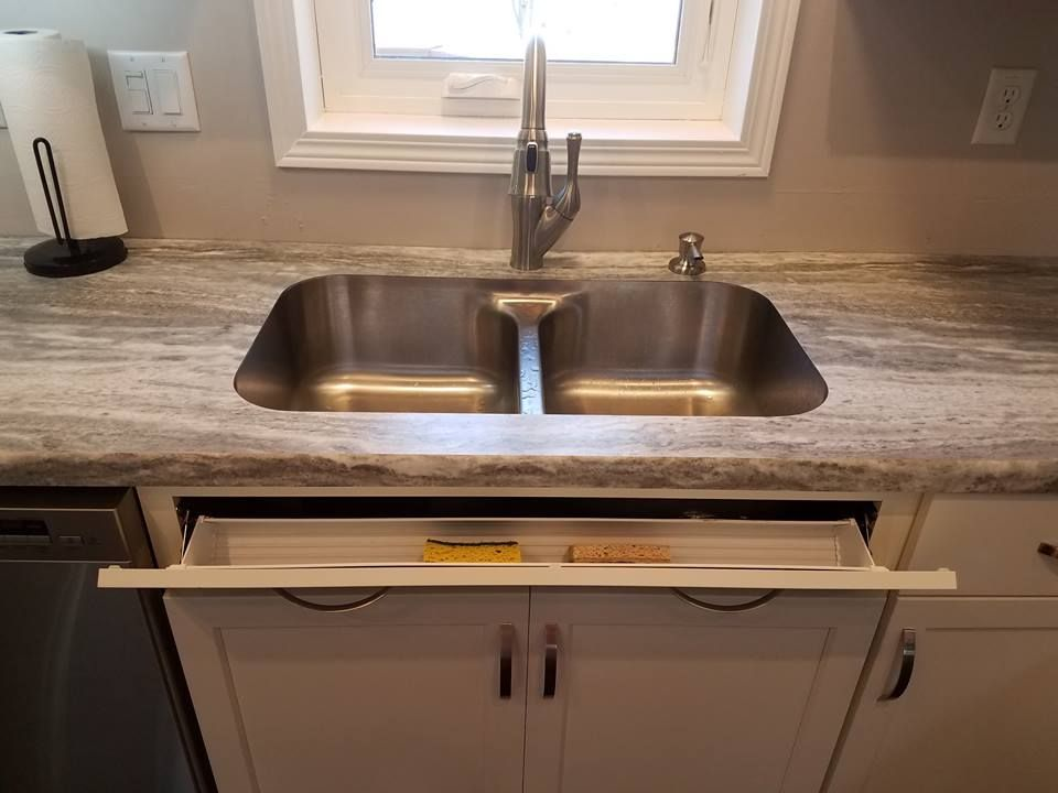 Fantasy Marble Laminate Countertops And A Tilt Out Storage Tray Kitchen Cabinets In Bathroom Laminate Countertops Beautiful Cabinet