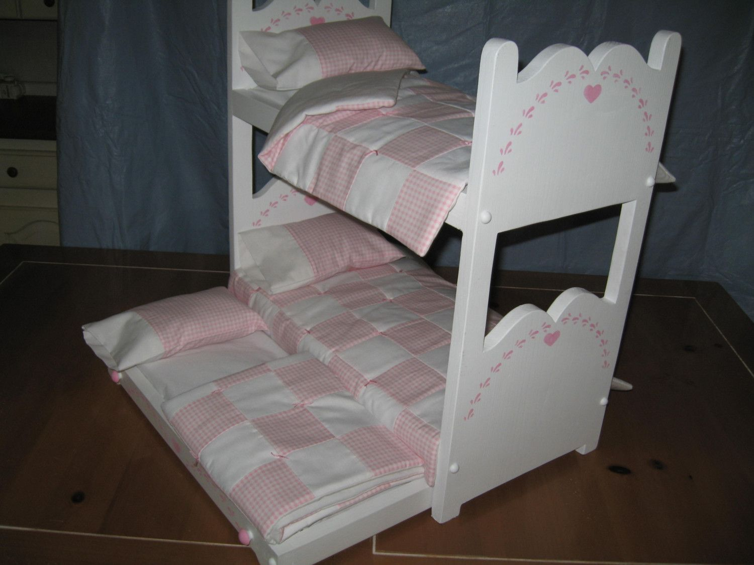 Bunk bed and Trundle for American Girl Dolls or 18 inch