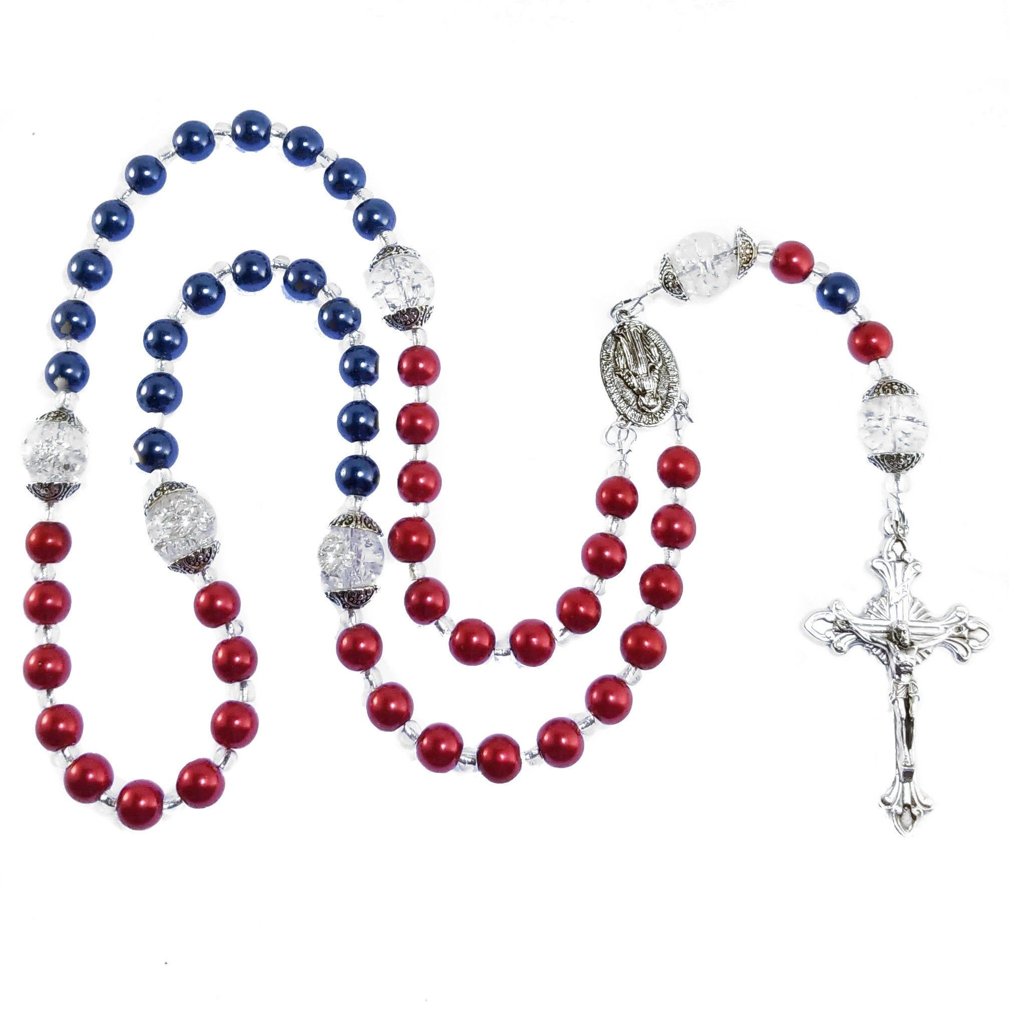 Pin by Tammy Barziza on Rosaries   Blue rosary, Silver crucifix ...