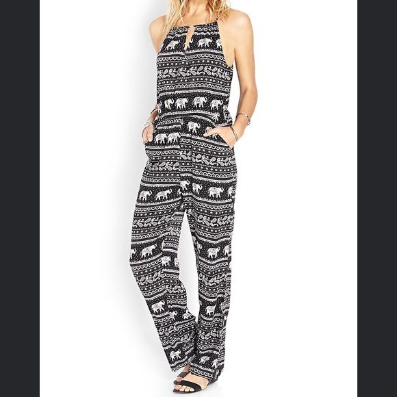 1c821e29c771 Elephant Jumpsuit NWT Black and white elephant print 100% Rayon Forever 21  Pants Jumpsuits   Rompers