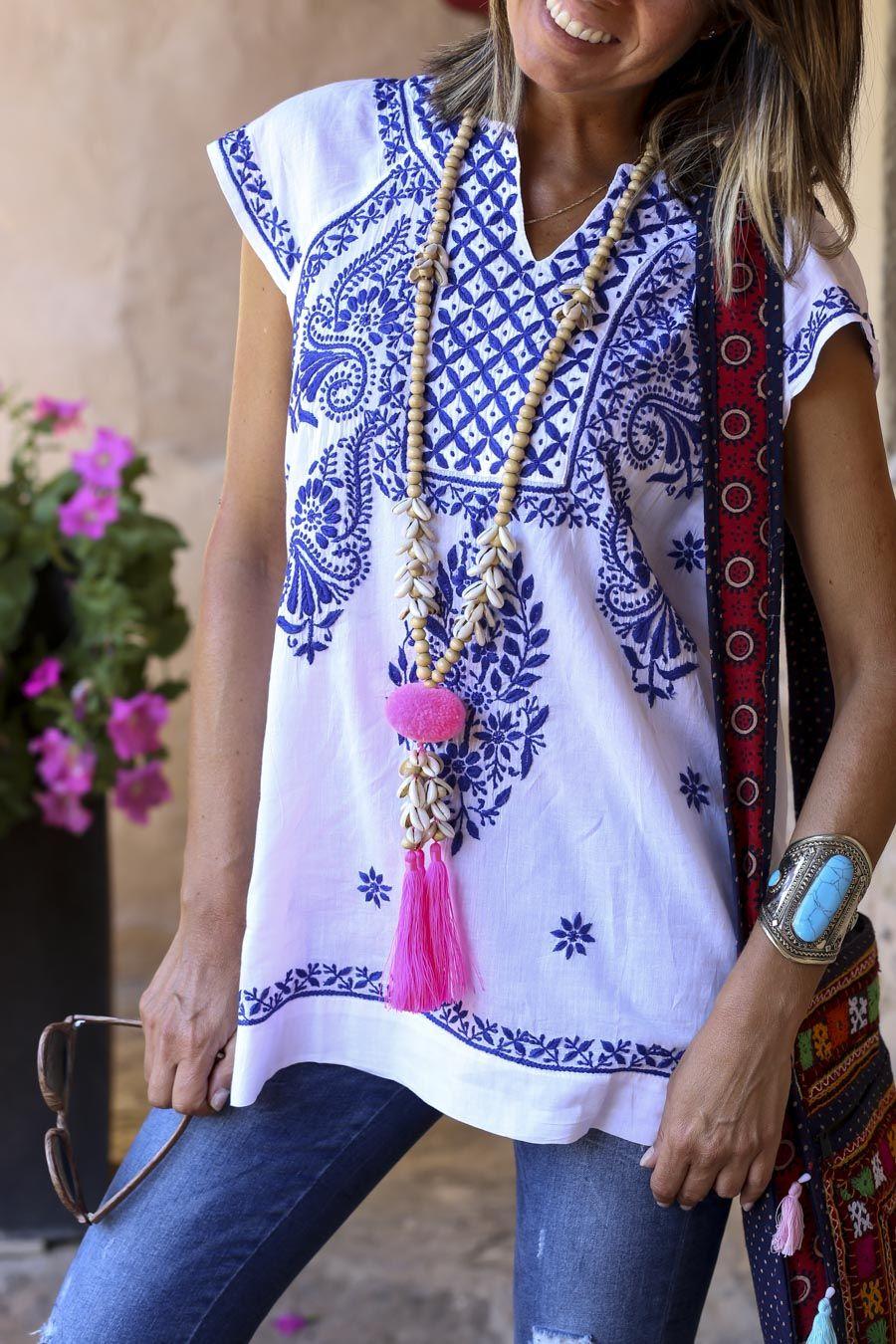 1c5e360bc12a Embroidered boho shirt | Boho en 2019 | Vestidos bordados, Blusa ...