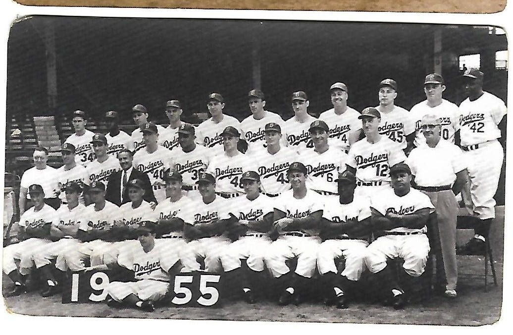1955 Brooklyn Dodgers Team Picture With Autographs On Back
