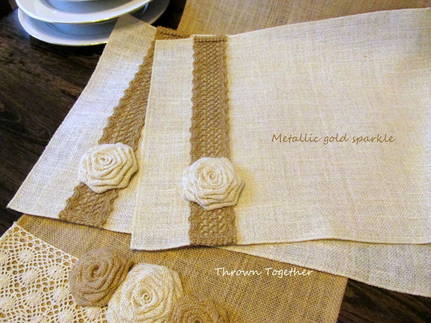 Burlap & Lace Rustic Table Linens, Table Runner and 4