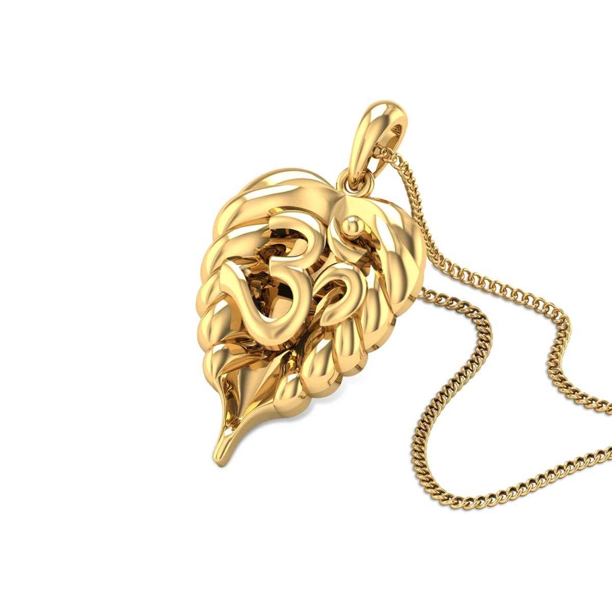 Gold Pendant Leafy aum gold pendant gold cz pendants pinterest gold leafy aum gold pendant audiocablefo