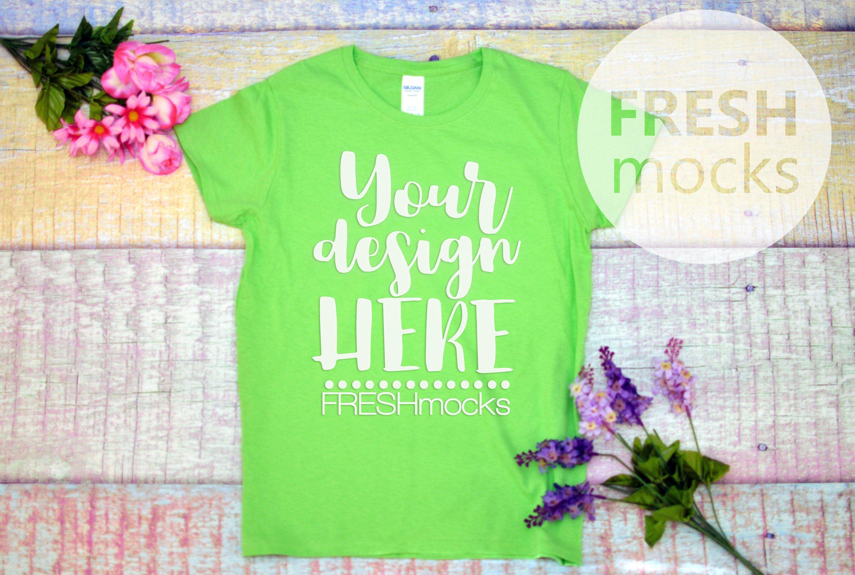 Gildan G500l Ladies Tshirt T Shirt Tee Mockup Lime Green Etsy T Shirts For Women Green Tshirt Flatlay
