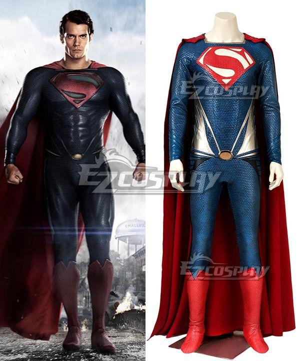 DC Man of Steel Superman Kal-El Clark Kent Cosplay Costume