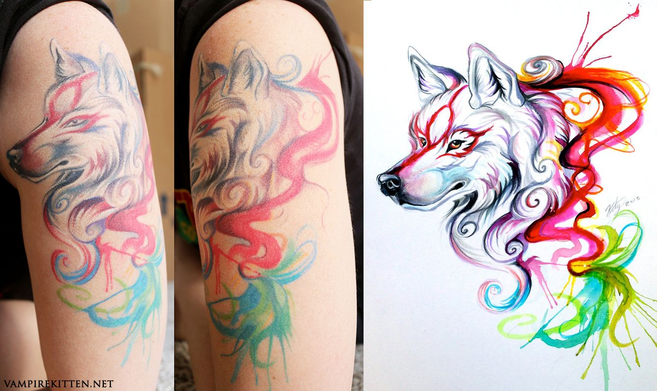 My Okami Watercolor Tattoo Is Healed Watercolor Tattoo Tattoos