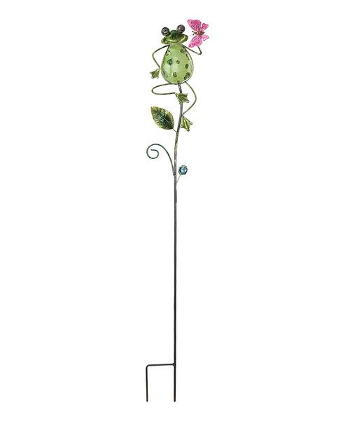 Plant whimsy in the flowerbeds any season when this frog lawn stake is featured prominently in the foliage. 5'' W x 42'' H x 3'' DMetal / glassImported